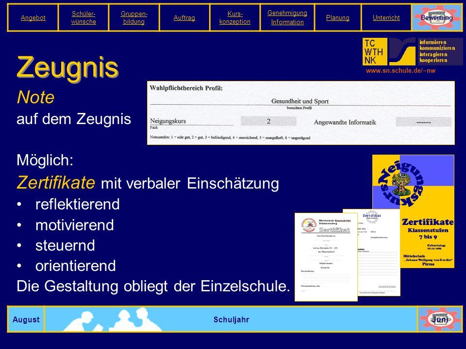 www.sn.schule.de/~nw Zeugnis AugustSchuljahrJuni Note auf dem Zeugnis Möglich: Zertifikate mit verbaler Einschätzung reflektierend motivierend steuernd orientierend Die Gestaltung obliegt der Einzelschule.