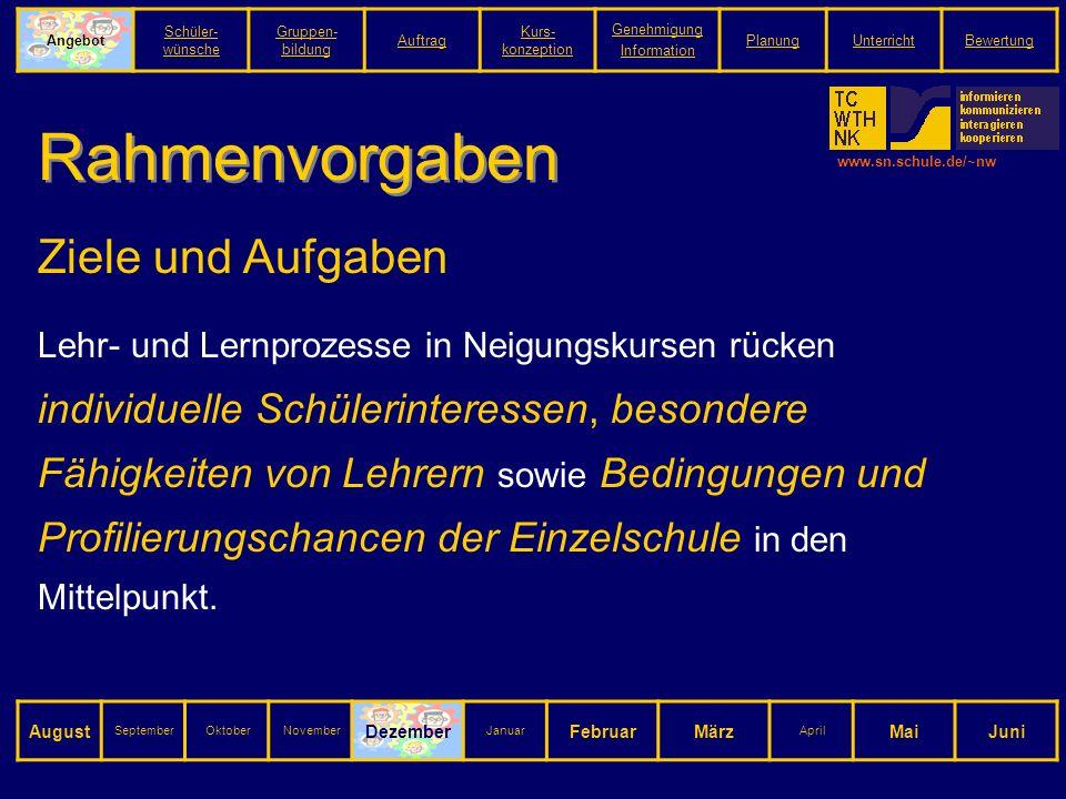 www.sn.schule.de/~nw Rahmenvorgaben Ziele und Aufgaben Lehr- und Lernprozesse in Neigungskursen rücken individuelle Schülerinteressen, besondere Fähigkeiten von Lehrern sowie Bedingungen und Profilierungschancen der Einzelschule in den Mittelpunkt.
