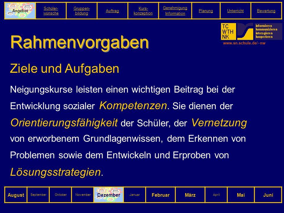 www.sn.schule.de/~nw Rahmenvorgaben Ziele und Aufgaben Neigungskurse leisten einen wichtigen Beitrag bei der Entwicklung sozialer Kompetenzen.