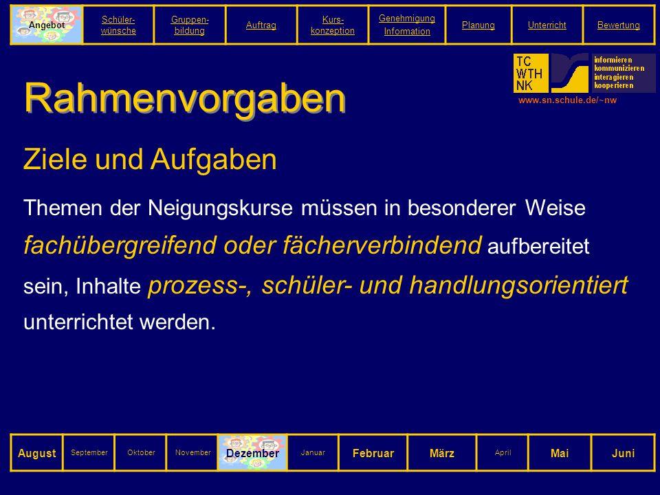 www.sn.schule.de/~nw Rahmenvorgaben Ziele und Aufgaben Themen der Neigungskurse müssen in besonderer Weise fachübergreifend oder fächerverbindend aufbereitet sein, Inhalte prozess-, schüler- und handlungsorientiert unterrichtet werden.
