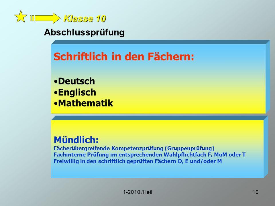 1-2010 /Heil10 Abschlussprüfung Schriftlich in den Fächern: Deutsch Englisch Mathematik Mündlich: Fächerübergreifende Kompetenzprüfung (Gruppenprüfung
