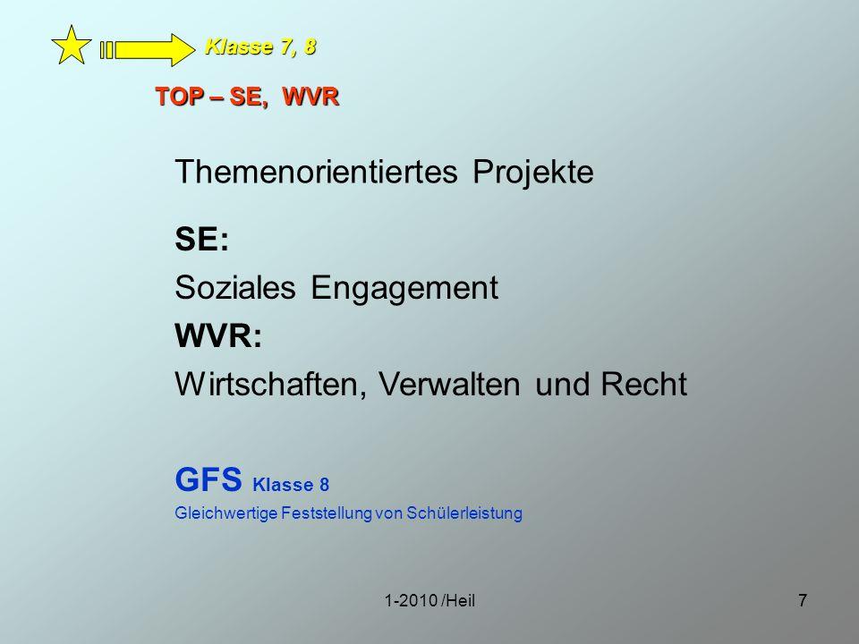 1-2010 /Heil77 TOP – SE, WVR Klasse 7, 8 Themenorientiertes Projekte SE: Soziales Engagement WVR: Wirtschaften, Verwalten und Recht GFS Klasse 8 Gleic