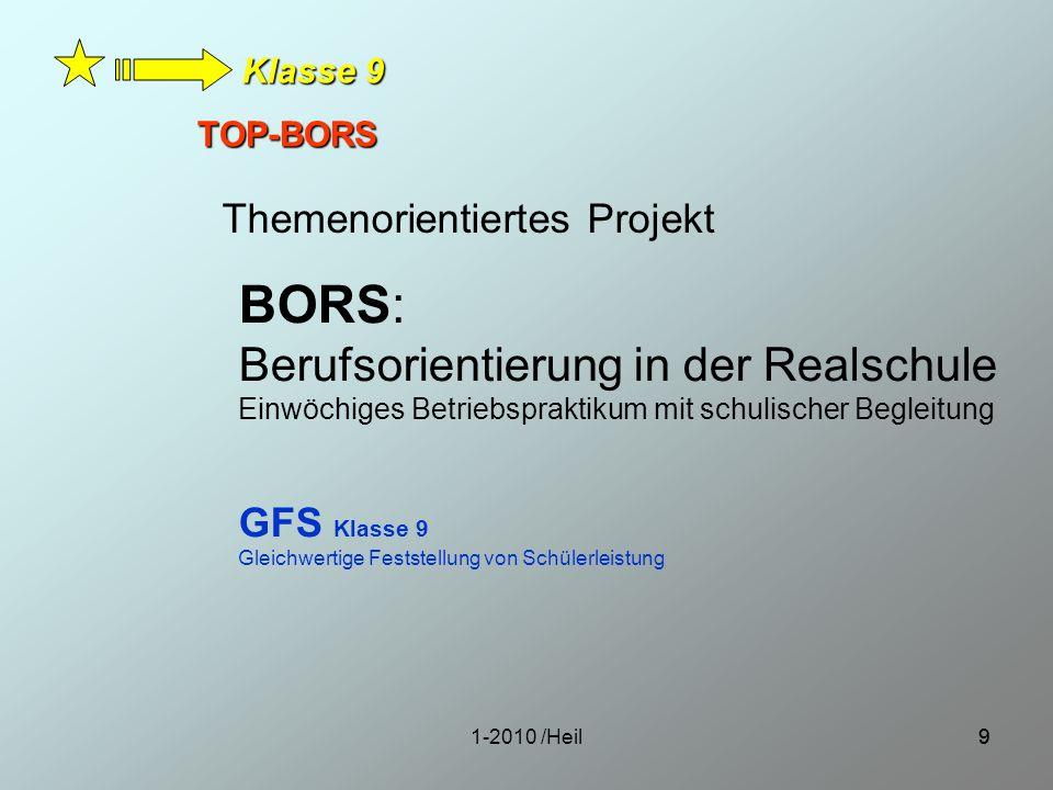 1-2010 /Heil99 TOP-BORS BORS: Berufsorientierung in der Realschule Einwöchiges Betriebspraktikum mit schulischer Begleitung GFS Klasse 9 Gleichwertige