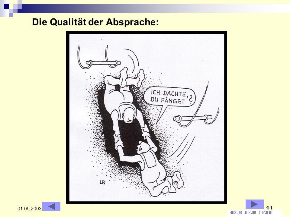 11 01.09.2003 Die Qualität der Absprache: