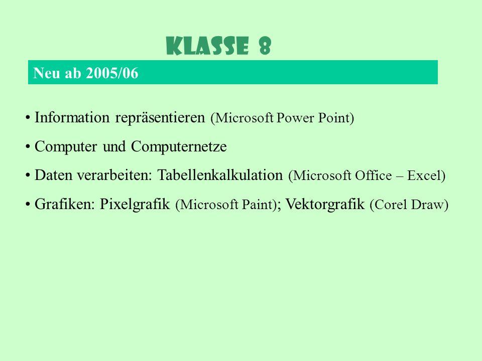 Klasse 8 Neu ab 2005/06 Information repräsentieren (Microsoft Power Point) Computer und Computernetze Daten verarbeiten: Tabellenkalkulation (Microsof