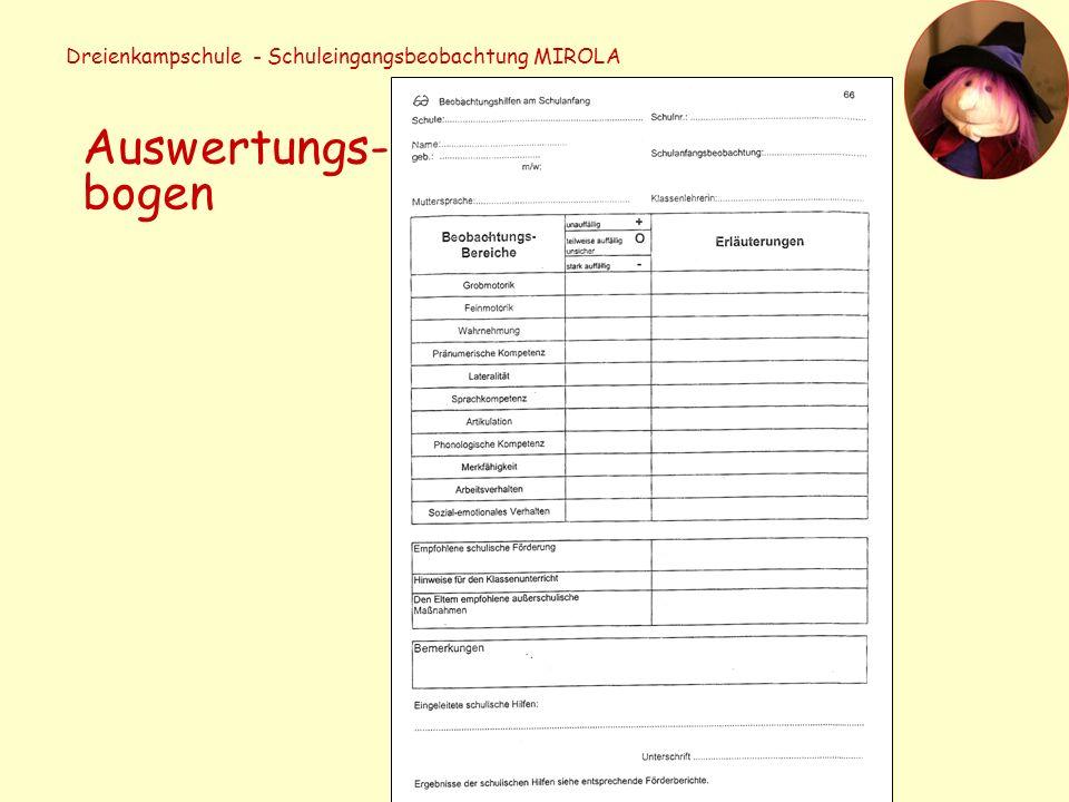 Dreienkampschule - Schuleingangsbeobachtung MIROLA Auswertungs- bogen