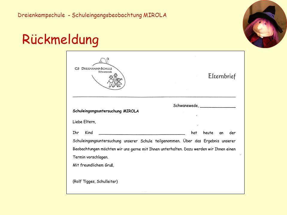 Dreienkampschule - Schuleingangsbeobachtung MIROLA Rückmeldung