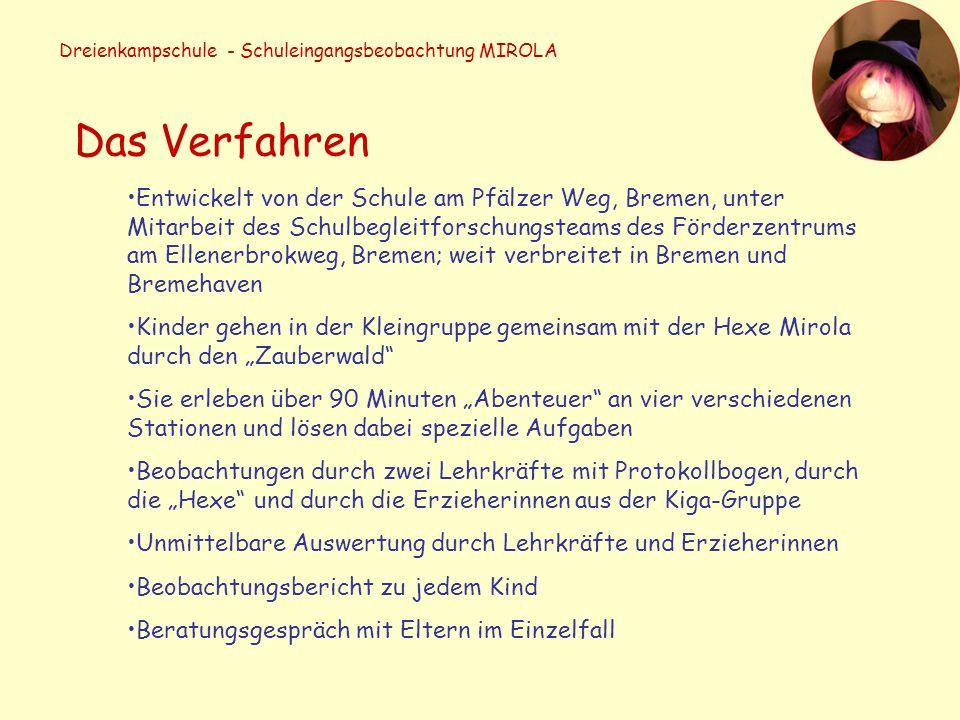 Dreienkampschule - Schuleingangsbeobachtung MIROLA Das Verfahren Entwickelt von der Schule am Pfälzer Weg, Bremen, unter Mitarbeit des Schulbegleitfor