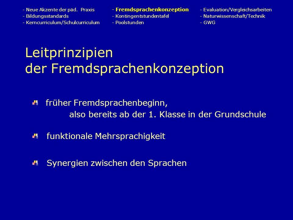 Leitprinzipien der Fremdsprachenkonzeption - Neue Akzente der päd.
