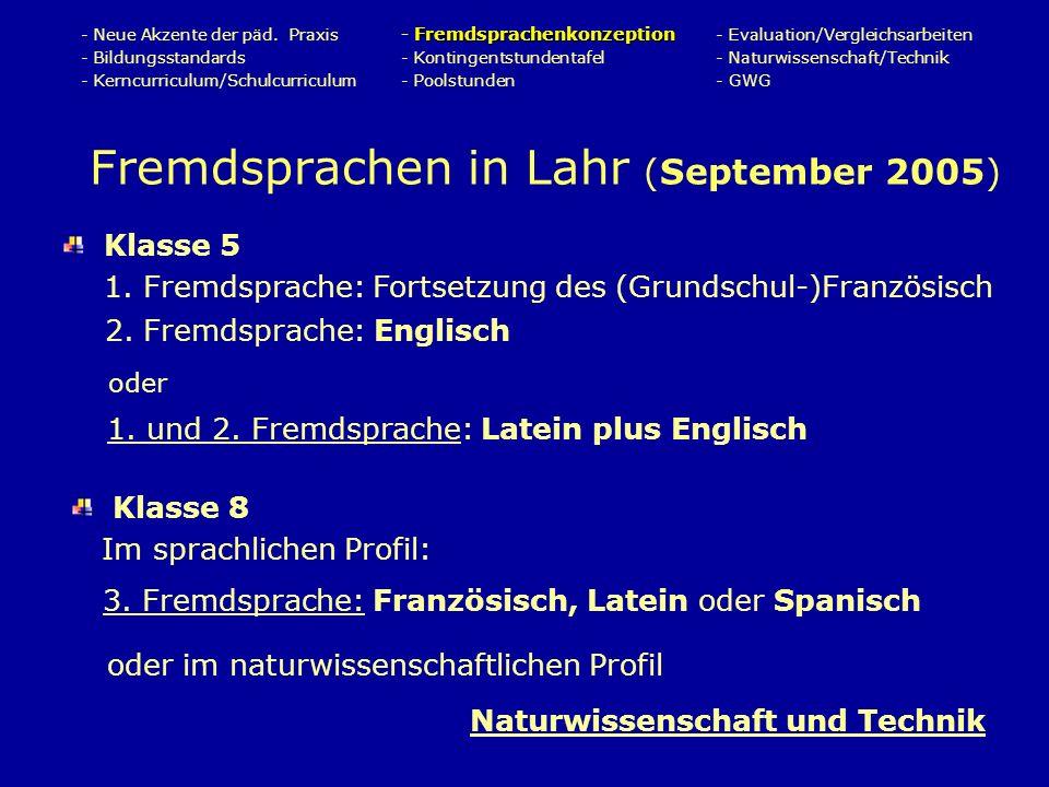 Fremdsprachen in Lahr (September 2005) Fremdsprachenkonzeption - Neue Akzente der päd.