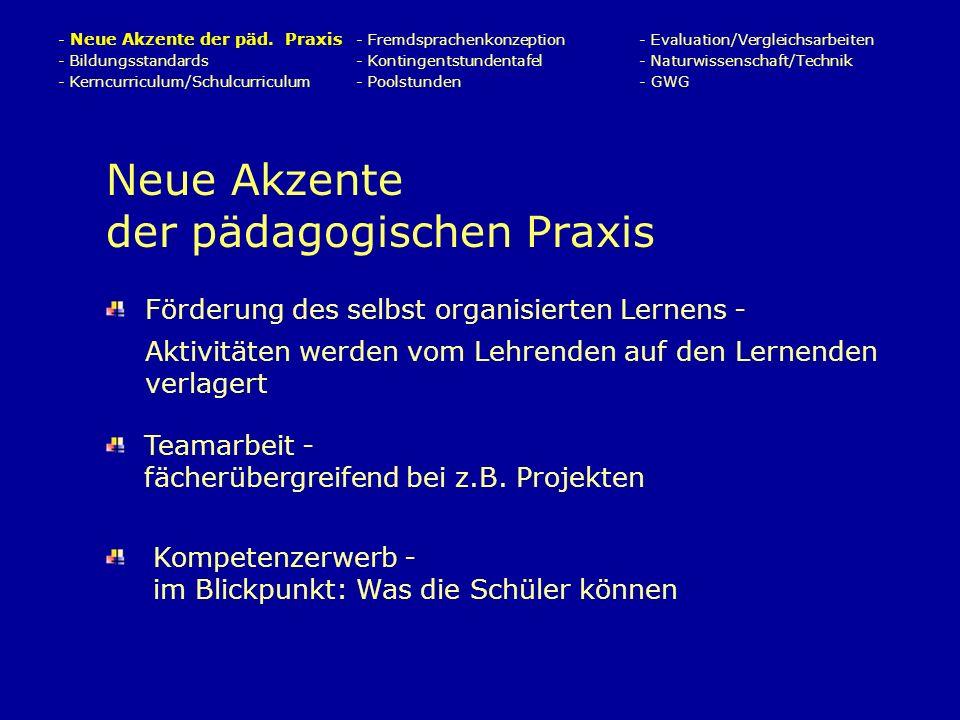 Neue Akzente der pädagogischen Praxis Förderung des selbst organisierten Lernens - Aktivitäten werden vom Lehrenden auf den Lernenden verlagert - Neue Akzente der päd.
