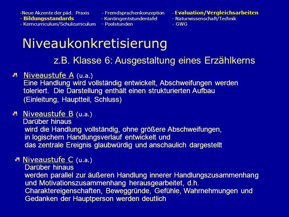 Evaluation/Vergleichsarbeiten -Neue Akzente der päd.