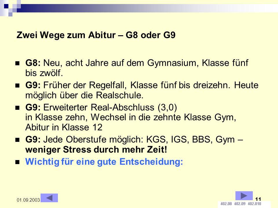 11 01.09.2003 Zwei Wege zum Abitur – G8 oder G9 G8: Neu, acht Jahre auf dem Gymnasium, Klasse fünf bis zwölf.
