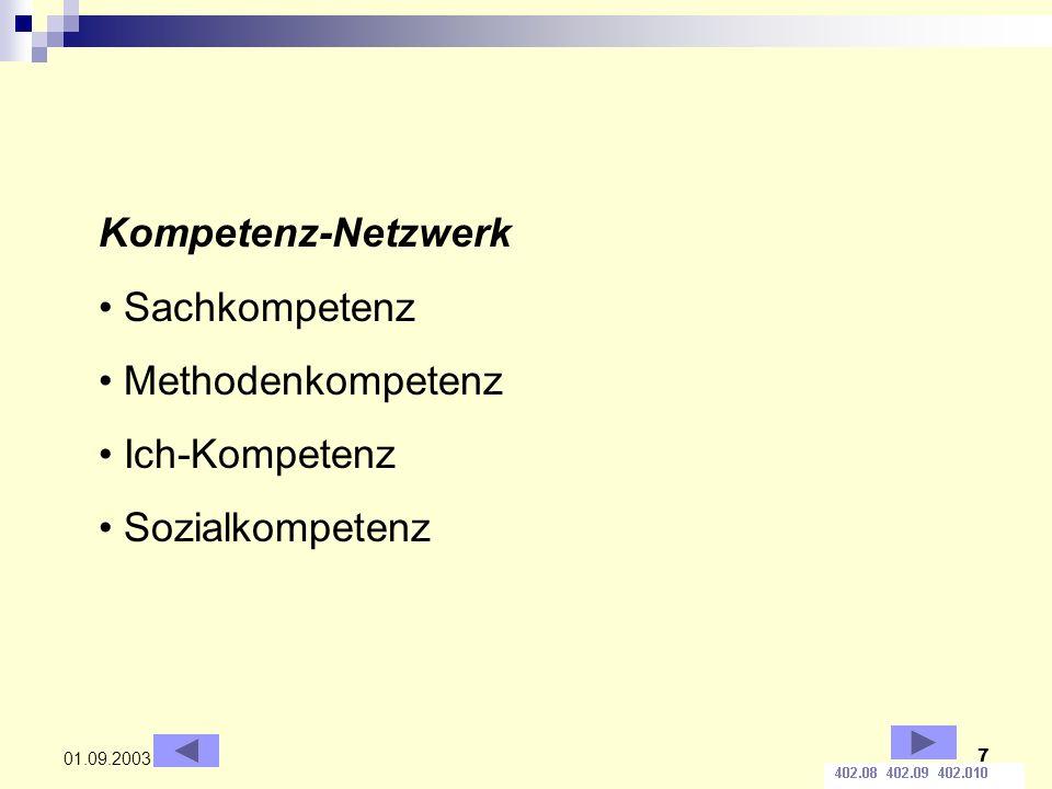 7 01.09.2003 Kompetenz-Netzwerk Sachkompetenz Methodenkompetenz Ich-Kompetenz Sozialkompetenz
