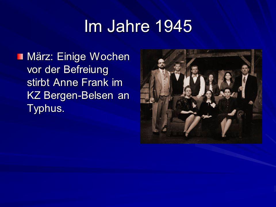 Im Jahre 1941-1944 Wechsel zum jüdischen Lyzeum. 1942 14. Juni: Anne Frank beginnt, in holländischer Sprache ihr Tagebuch zu schreiben. 6. Juli: Nach