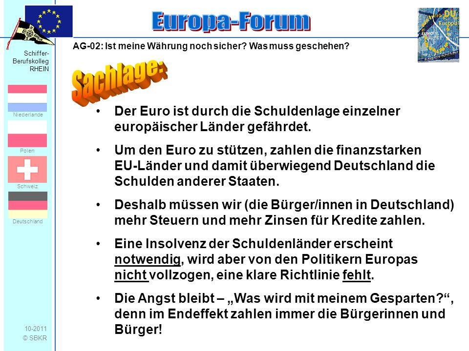 Schiffer- Berufskolleg RHEIN 10-2011 © SBKR Niederlande Polen Schweiz Deutschland AG-02: Ist meine Währung noch sicher? Was muss geschehen? Der Euro i