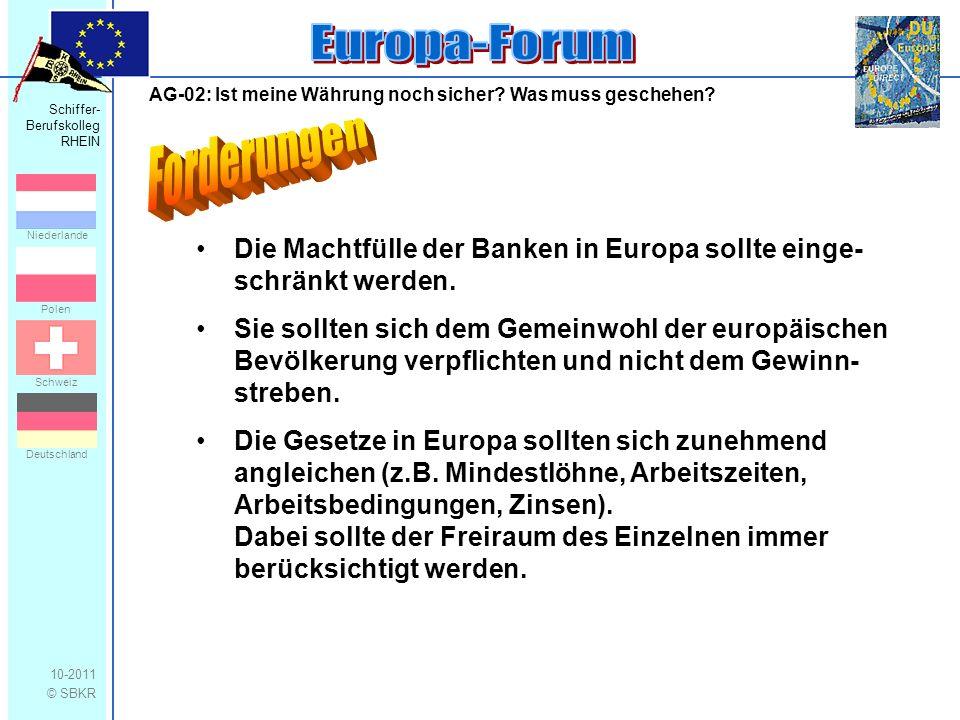 Schiffer- Berufskolleg RHEIN 10-2011 © SBKR Niederlande Polen Schweiz Deutschland AG-02: Ist meine Währung noch sicher.