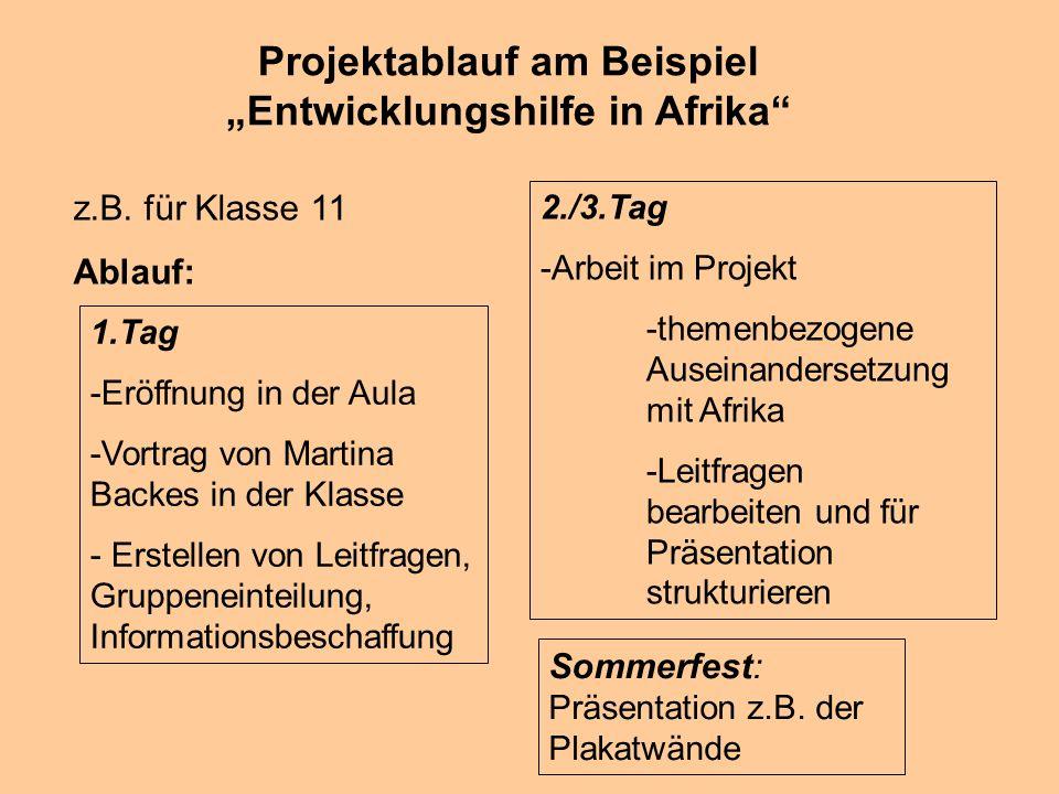 Projektablauf am Beispiel Entwicklungshilfe in Afrika z.B.