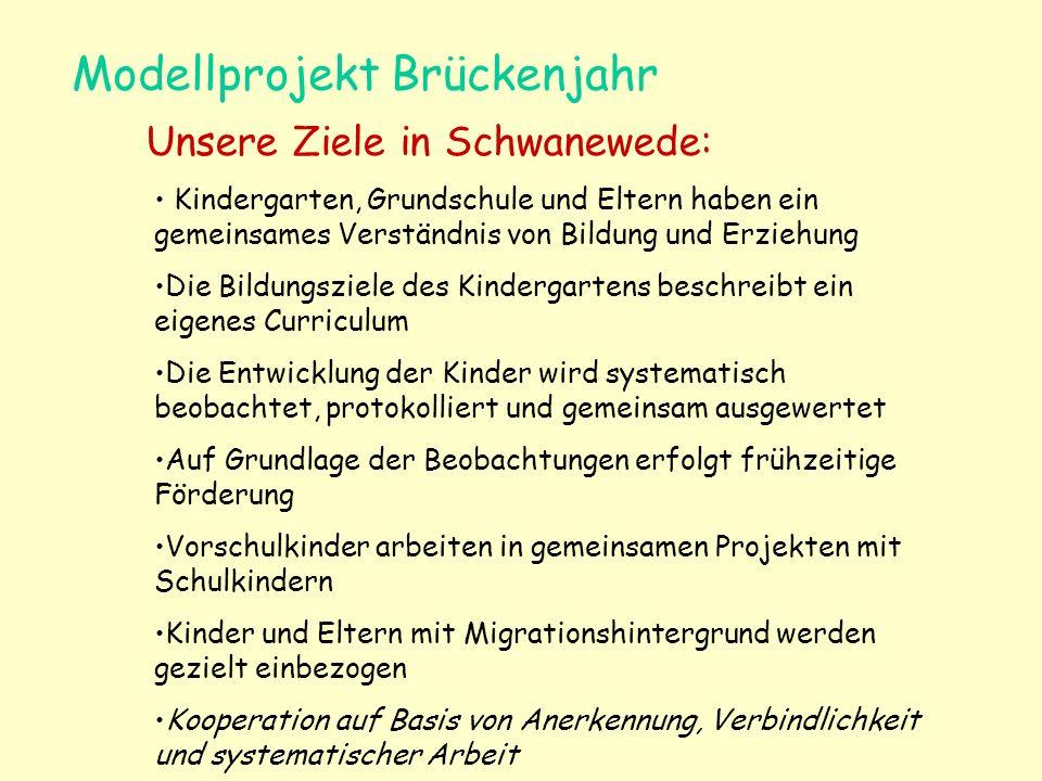 Modellprojekt Brückenjahr Unsere Ziele in Schwanewede: Kindergarten, Grundschule und Eltern haben ein gemeinsames Verständnis von Bildung und Erziehun