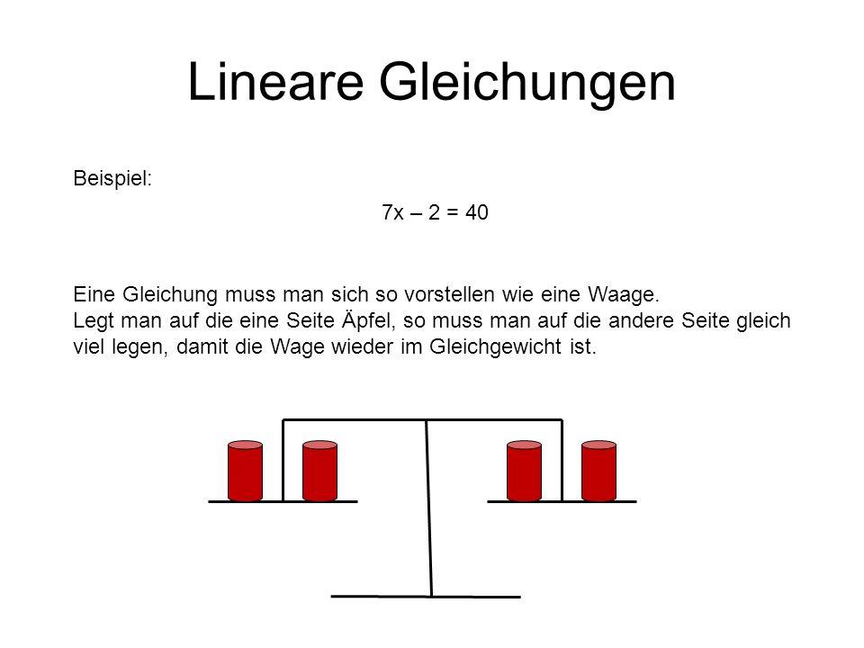 Lineare Gleichungen Beispiel: 7x – 2 = 40 Eine Gleichung muss man sich so vorstellen wie eine Waage.