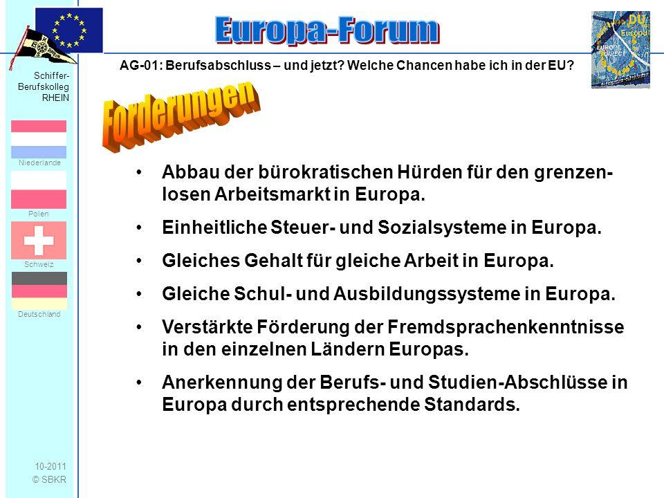 Schiffer- Berufskolleg RHEIN 10-2011 © SBKR Niederlande Polen Schweiz Deutschland AG-01: Berufsabschluss – und jetzt? Welche Chancen habe ich in der E