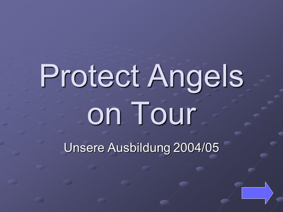 Protect Angels on Tour Unsere Ausbildung 2004/05