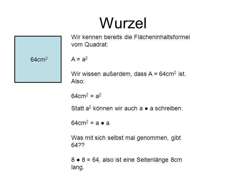 Wurzel Wir kennen bereits die Flächeninhaltsformel vom Quadrat: A = a 2 Wir wissen außerdem, dass A = 64cm 2 ist. Also: 64cm 2 = a 2 Statt a 2 können