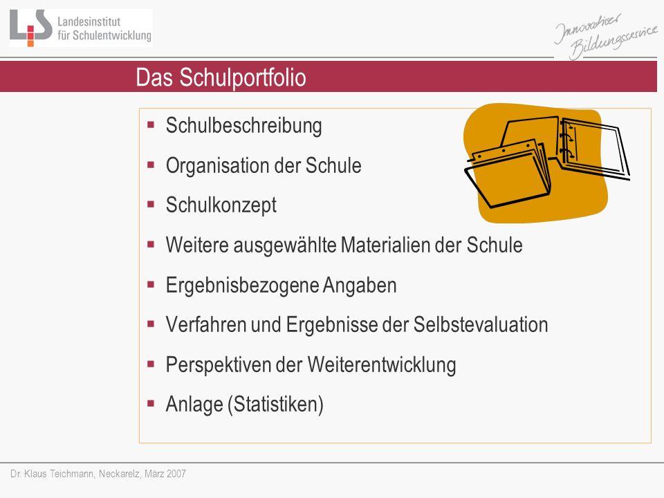 Dr. Klaus Teichmann, Neckarelz, März 2007 Schulbeschreibung Organisation der Schule Schulkonzept Weitere ausgewählte Materialien der Schule Ergebnisbe