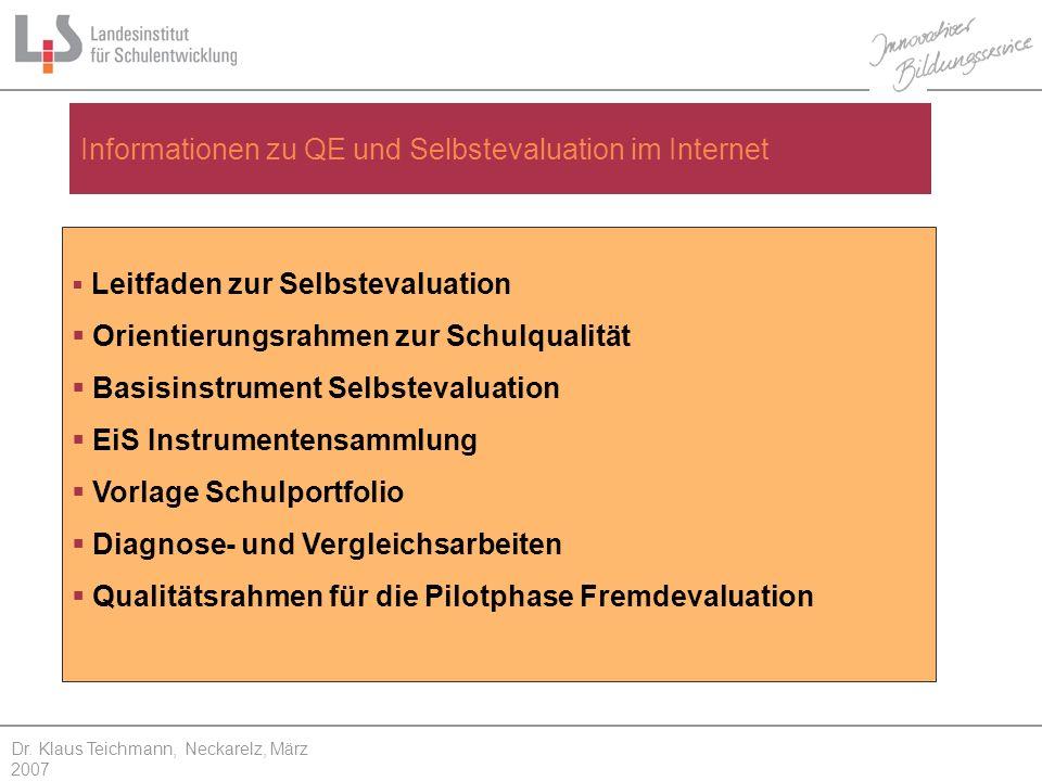 Leitfaden zur Selbstevaluation Orientierungsrahmen zur Schulqualität Basisinstrument Selbstevaluation EiS Instrumentensammlung Vorlage Schulportfolio