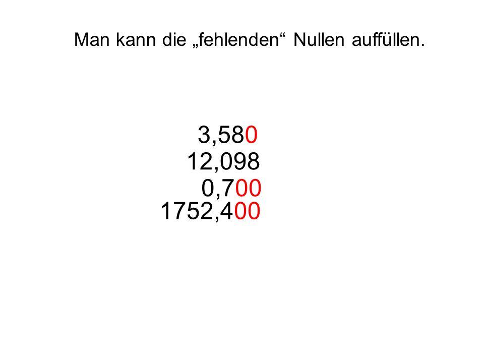 Man kann die fehlenden Nullen auffüllen. 3,580 12,098 0,700 1752,400