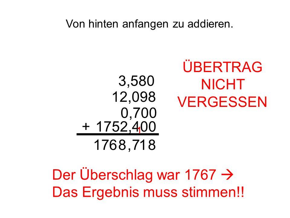 Von hinten anfangen zu addieren. 3,580 12,098 0,700 1752,400+ 81 ÜBERTRAG NICHT VERGESSEN 1 78,617 Der Überschlag war 1767 Das Ergebnis muss stimmen!!