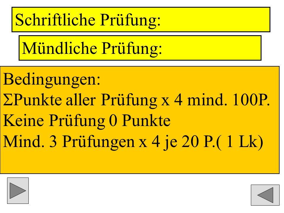 Schriftliche Prüfung: Mündliche Prüfung: Bedingungen: Punkte aller Prüfung x 4 mind.