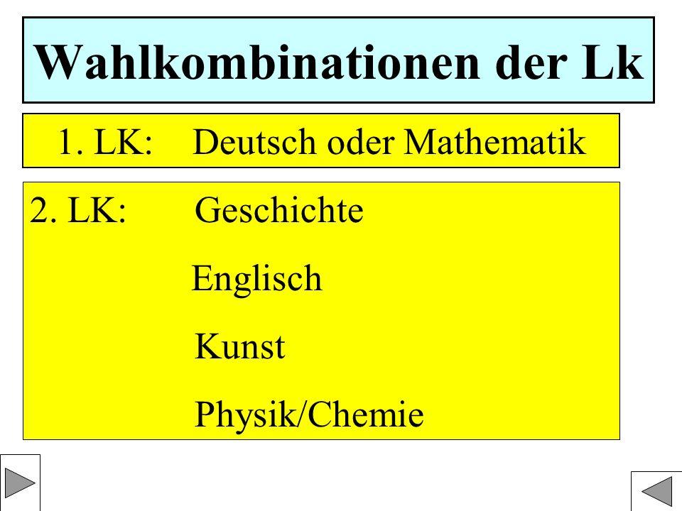 Wahlkombinationen der Lk 1. LK: Deutsch oder Mathematik 2.