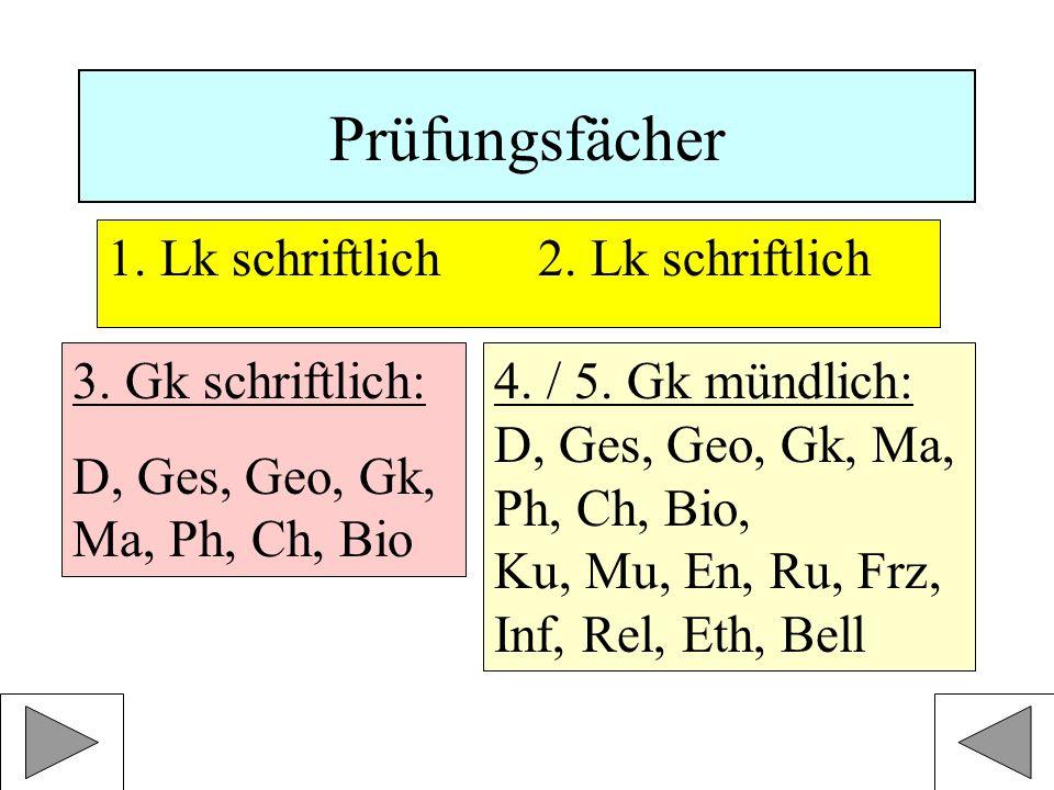 Prüfungsfächer 1.Lk schriftlich 2. Lk schriftlich 3.
