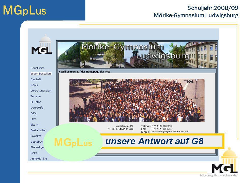 http://mgl.lb.bw.schule.de MG p L us Schuljahr 2008/09 Mörike-Gymnasium Ludwigsburg MG p L us