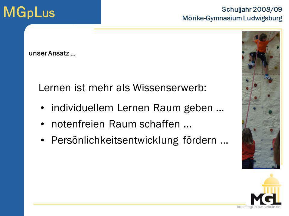 http://mgl.lb.bw.schule.de MG p L us Schuljahr 2008/09 Mörike-Gymnasium Ludwigsburg individuellem Lernen Raum geben … notenfreien Raum schaffen … Pers