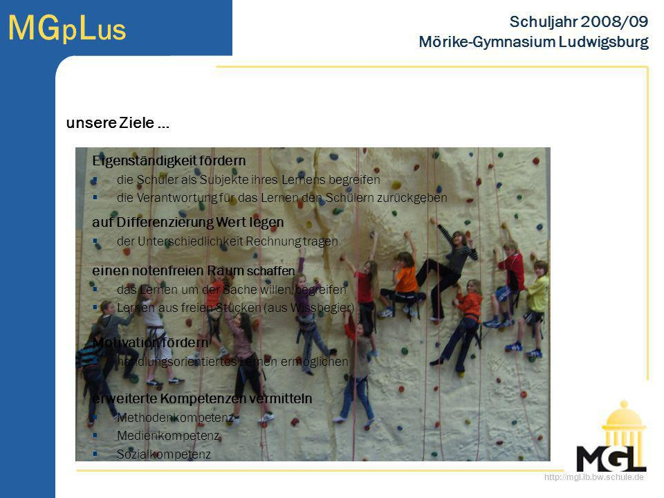 http://mgl.lb.bw.schule.de MG p L us Schuljahr 2008/09 Mörike-Gymnasium Ludwigsburg Eigenständigkeit fördern die Schüler als Subjekte ihres Lernens be