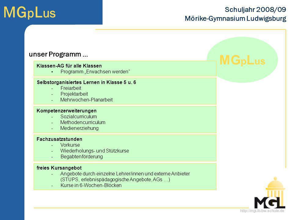 http://mgl.lb.bw.schule.de MG p L us Schuljahr 2008/09 Mörike-Gymnasium Ludwigsburg MG p L us Klassen-AG für alle Klassen Programm Erwachsen werden Se