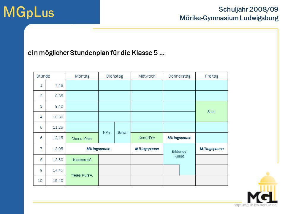 http://mgl.lb.bw.schule.de MG p L us Schuljahr 2008/09 Mörike-Gymnasium Ludwigsburg ein möglicher Stundenplan für die Klasse 5 … StundeMontagDienstagM