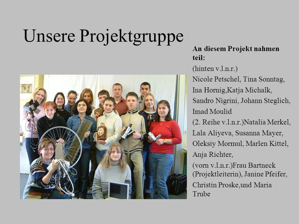 Unsere Projektgruppe An diesem Projekt nahmen teil: (hinten v.l.n.r.) Nicole Petschel, Tina Sonntag, Ina Hornig,Katja Michalk, Sandro Nigrini, Johann Steglich, Imad Moulid (2.