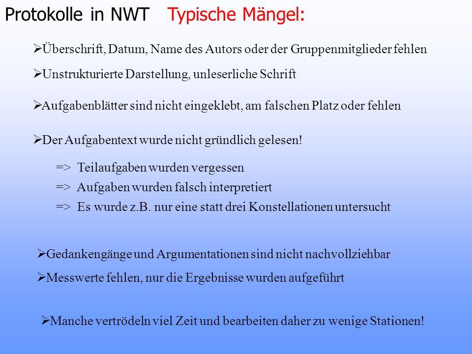 Protokolle in NWT Typische Mängel: Überschrift, Datum, Name des Autors oder der Gruppenmitglieder fehlen Aufgabenblätter sind nicht eingeklebt, am fal