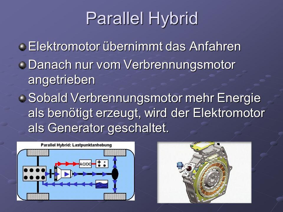 Parallel Hybrid Elektromotor übernimmt das Anfahren Danach nur vom Verbrennungsmotor angetrieben Sobald Verbrennungsmotor mehr Energie als benötigt er