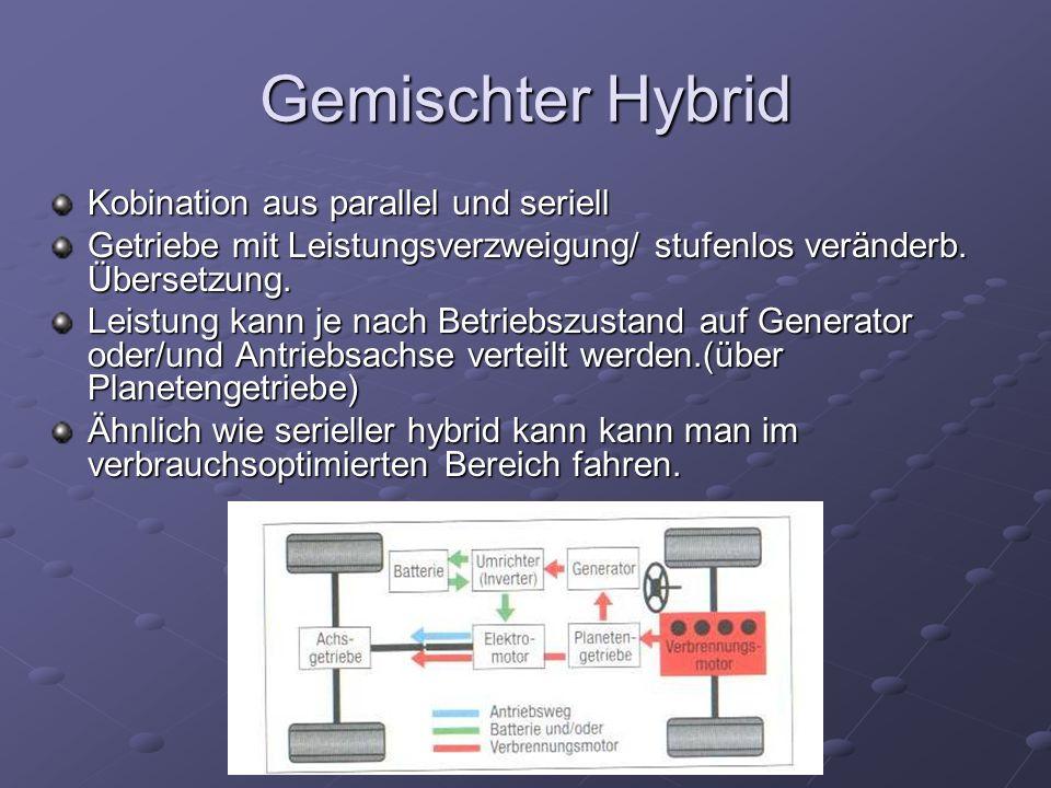 Gemischter Hybrid Kobination aus parallel und seriell Getriebe mit Leistungsverzweigung/ stufenlos veränderb. Übersetzung. Leistung kann je nach Betri