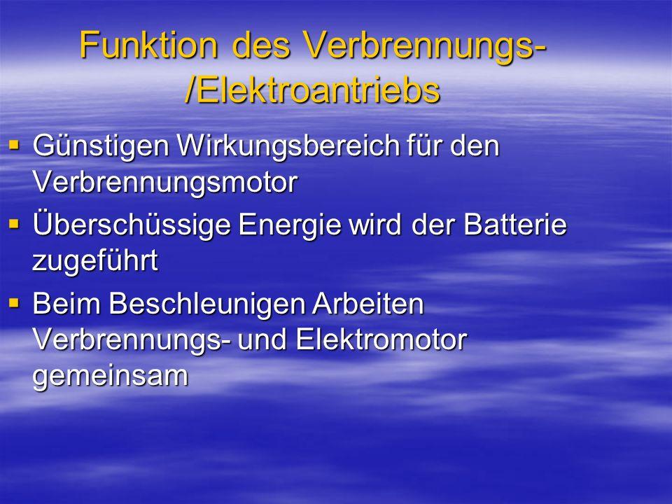 Beim Bremsen und Schubbetrieb, wird die Bremsenergie die Batterie zurückgeführt Beim Bremsen und Schubbetrieb, wird die Bremsenergie die Batterie zurückgeführt Durch die Nutzbremsung erfolgt eine Verbrauchsminderung.