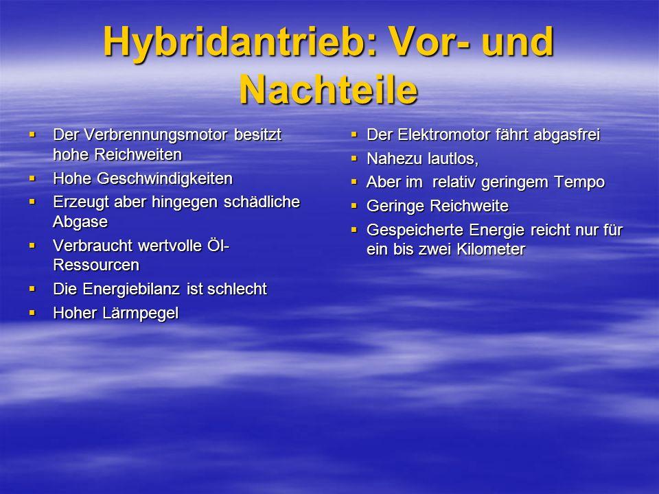 Hybridantrieb: Vor- und Nachteile Der Verbrennungsmotor besitzt hohe Reichweiten Der Verbrennungsmotor besitzt hohe Reichweiten Hohe Geschwindigkeiten