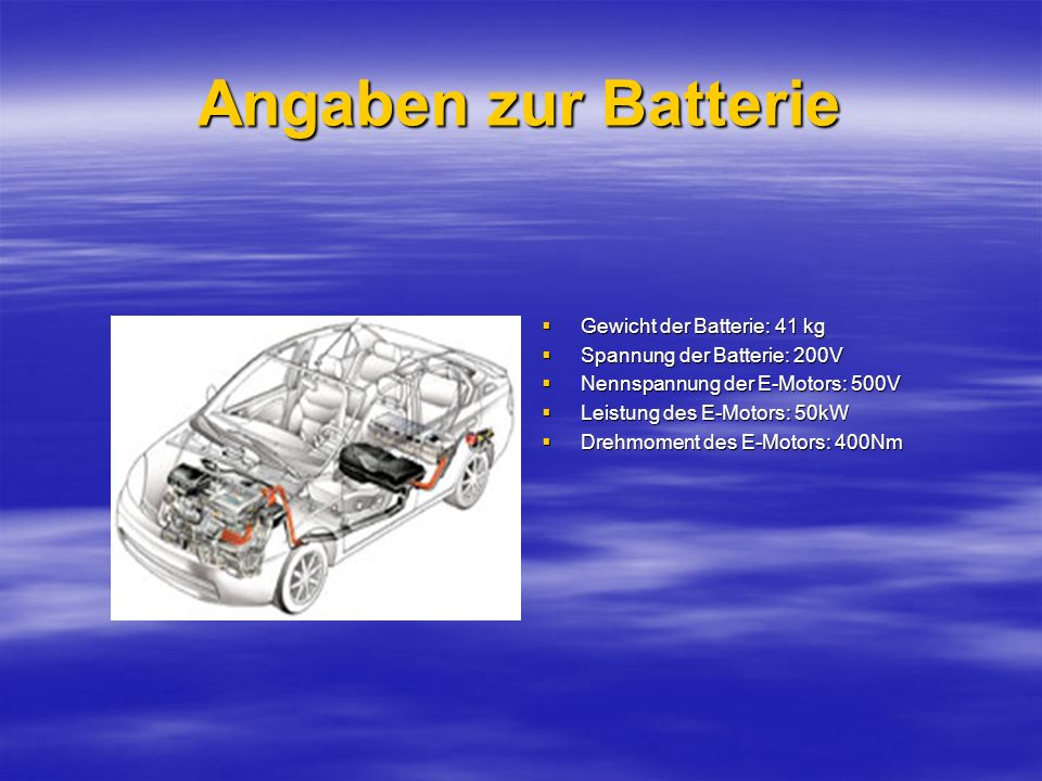 Angaben zur Batterie Gewicht der Batterie: 41 kg Gewicht der Batterie: 41 kg Spannung der Batterie: 200V Spannung der Batterie: 200V Nennspannung der