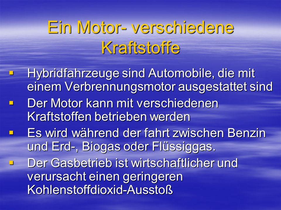 Ein Motor- verschiedene Kraftstoffe Hybridfahrzeuge sind Automobile, die mit einem Verbrennungsmotor ausgestattet sind Hybridfahrzeuge sind Automobile