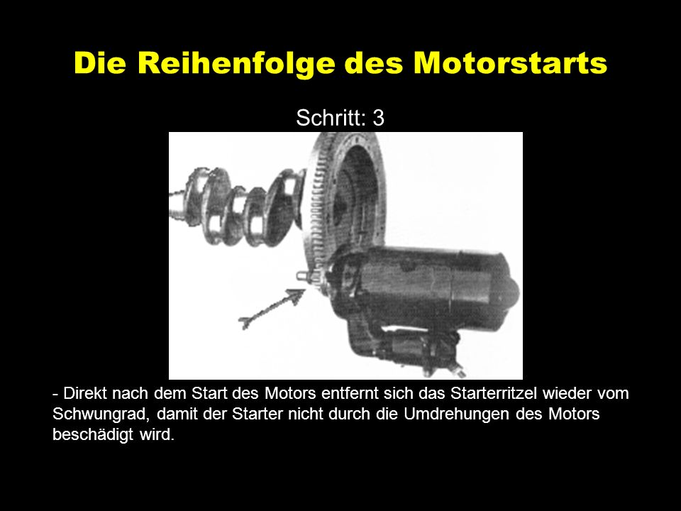 Die Reihenfolge des Motorstarts Schritt: 3 - Direkt nach dem Start des Motors entfernt sich das Starterritzel wieder vom Schwungrad, damit der Starter nicht durch die Umdrehungen des Motors beschädigt wird.