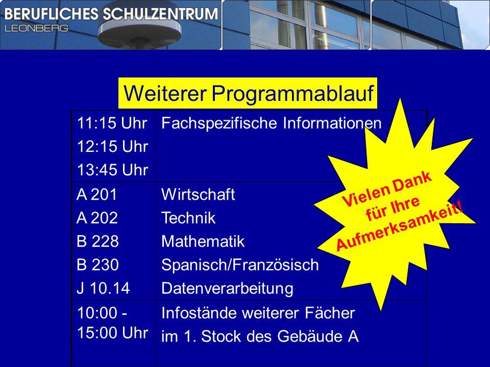 Weiterer Programmablauf 11:15 Uhr 12:15 Uhr 13:45 Uhr Fachspezifische Informationen A 201 A 202 B 228 B 230 J 10.14 Wirtschaft Technik Mathematik Span