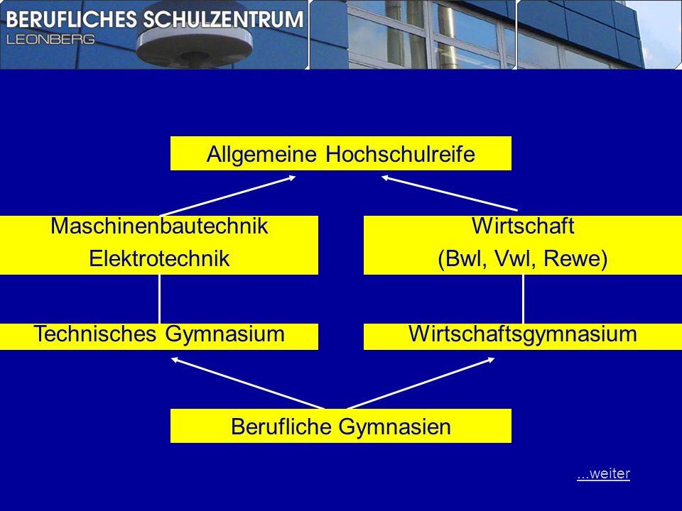 Allgemeine Hochschulreife Maschinenbautechnik Elektrotechnik Wirtschaft (Bwl, Vwl, Rewe) Technisches GymnasiumWirtschaftsgymnasium Berufliche Gymnasie